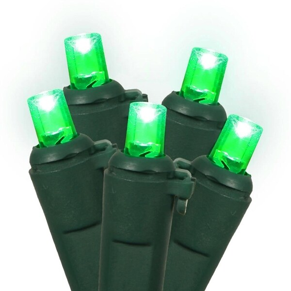 """Set of 100 Green LED Wide Angle Christmas Lights 4"""" Spacing - Green Wire"""