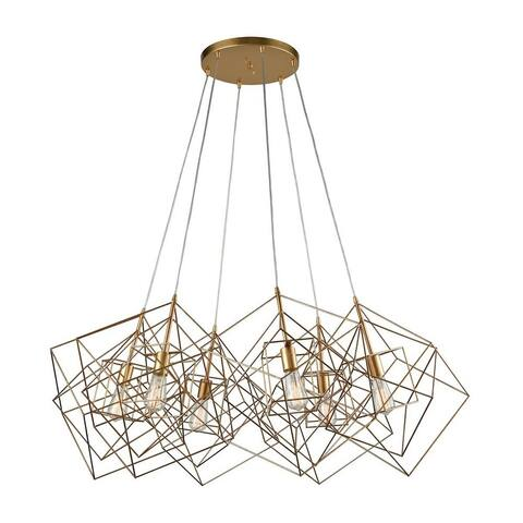 Geometric Linear Chandelier - Six Light Cluster Pendant Gold Leaf Finish
