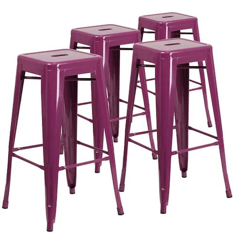 Backless Metal Indoor/Outdoor Square Barstool (Set of 4)