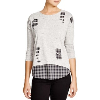 Generation Love Womens Pullover Top Heathered Layered - s
