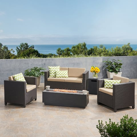 Glenbar 4 Seater Wicker Chat Set with Fire Pit by Christopher Knight Home