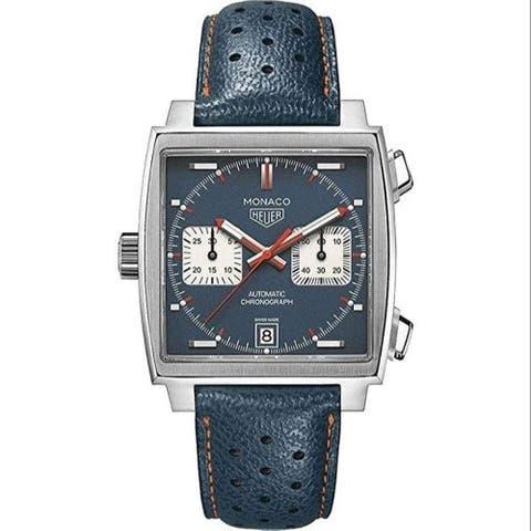 Tag Heuer Men's CAW211P.FC6401 'Monaco Steve McQueen' Chronograph Blue Leather Watch - Multi