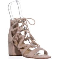 Marc Fisher  Rayz Lace Up Sandals, Light Natural Suede