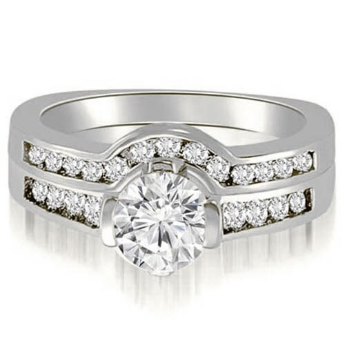 1.51 cttw. 14K White Gold Round Cut Diamond Bridal Set