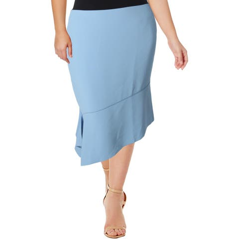 Anne Klein Womens Pencil Skirt Asymmetrical Knee-Length