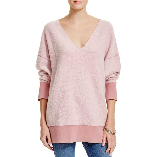 Free People Womens Juniors All About It Sweatshirt Contrast Trim Dolman Sleeves