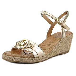 Michael Michael Kors Cate Beth Youth Open Toe Synthetic Gold Wedge Sandal