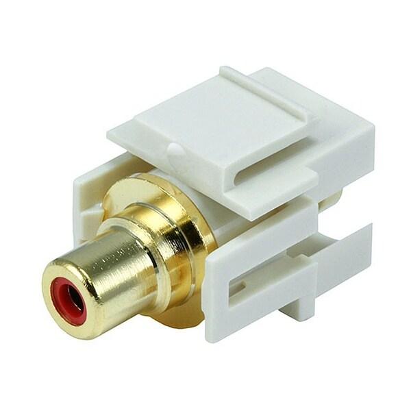 Monoprice Modular RCA Coupler Keystone Jack w/Red Center, Flush Type - Ivory