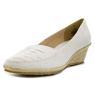Beacon Sunport Women Open Toe Canvas White Wedge Heel