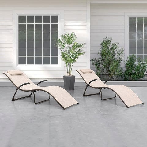 """2-Piece Outdoor Pool Portable Folding Reclining Chaise Lounge Chairs - 69.09"""" L x 24.61"""" W x 25.98"""" H"""