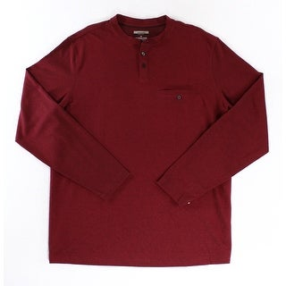 Alfani NEW Dark Ruby Red Mens Size LT Big Pullover Henley Shirt