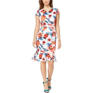 Betsey Johnson Womens Bodycon Dress Ruffled Hem Short Sleeve