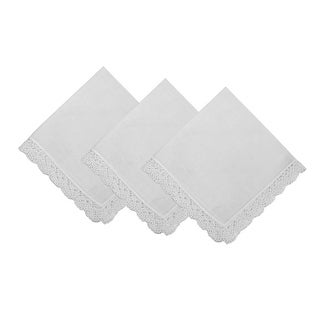 Dainty Cotton Handkerchief with Crochet Edges Set of 3