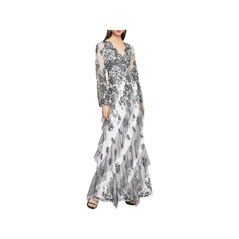 BCBG Max Azria Womens Evening Dress Lace Floral