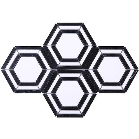 TileGen. Large Triple Hexigon Marble Tile in Black/White Floor and Wall Tile (10 sheets/9sqft.)