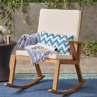 Link to Champlain Outdoor Acacia Wood Rocking Chair with Water-Resistant Cushions by Christopher Knight Home Similar Items in Outdoor Sofas, Chairs & Sectionals