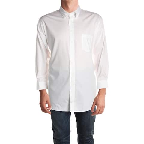 Van Heusen Mens Big & Tall Button-Down Shirt Stretch Collar Classic Fit
