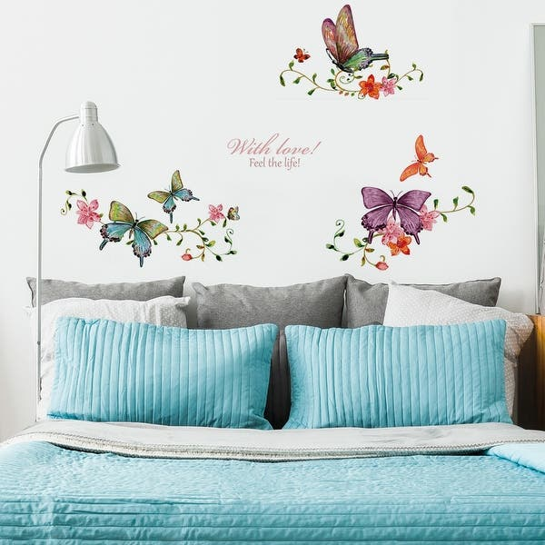 Butterfly Flower Vine Wall Stickers Self-stick Artificial Decal for Bedroom