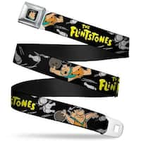 Fred Face Full Color Black The Flintstones Fred Bowling Poses Bowling Pins Seatbelt Belt