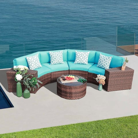 Outdoor 7 Piece Wicker Half-Round Sofa Set Cushions Included