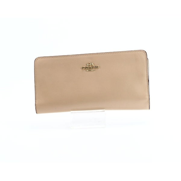 Coach Beige Beechwood Skinny Bifold Refined Calf Leather Wallet