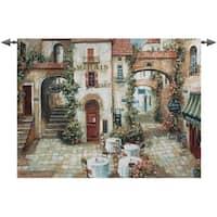 "Le Marais Paris France Outdoor Cafe Cotton Wall Art Hanging Tapestry 35"" x 53"" - multi"