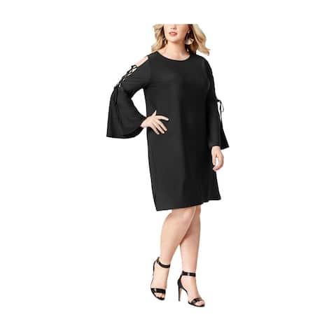 Love Scarlett Womens Lace-Up Sleeve Cold Shoulder Dress, black, 1X