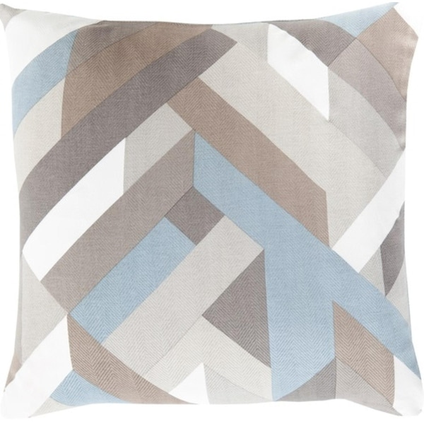 """22"""" Blue and Gray Hand Woven Square Throw Pillow - Down Filler"""