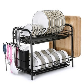 Large Capacity Dish Drying Rack Over The Sink Roll Up 2 Tier Kitchen Storage - M