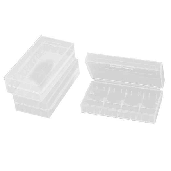 3Pcs Clear Plastic Battery Storage Box w Catching Groove for 2 x 18650/4 x 16340