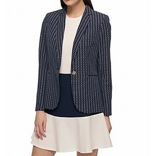 Tommy Hilfiger NEW Blue Womens Size 6 One-Button Textured Jacket