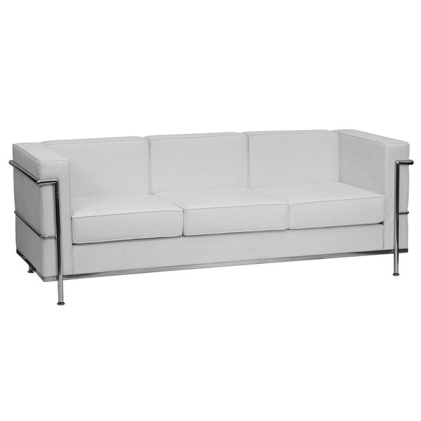Offex HERCULES Regal Series Contemporary White Leather Sofa with Encasing  Frame [OF-ZB-REGAL-810-3-SOFA-WH-GG]