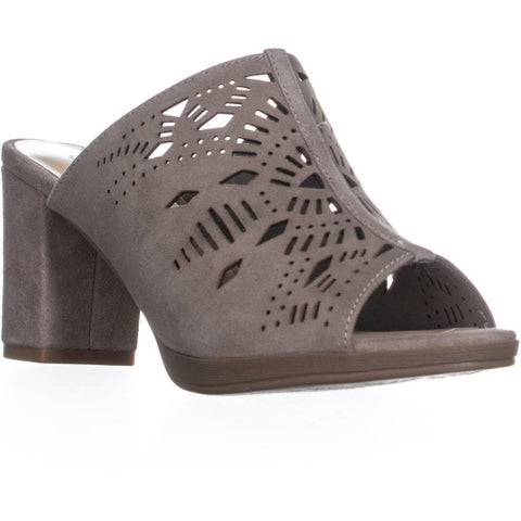 Bella Vita Lark Block Heel Perforated Slip On Sandals, Stone - 6 w us