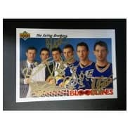 Signed Sutter Brothers Brian  Duane  Darryl  Brent  Rich Sutter 1991 Upper Deck Hockey Card by Bria
