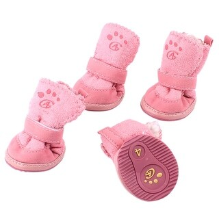 Unique Bargains 2 Pair Nonslip Rubber Sole Yorkie Doggie Warm Shoes Boots Booties Pink XS