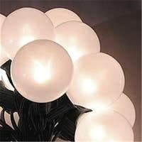 White Pearl G50 Globe Christmas Lights, Green Wire, Set Of 15