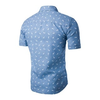 Unique Bargains Men's Button Closed Short Sleeves Fishbone Prints Cotton Shirt