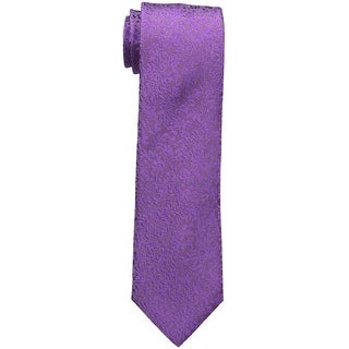 Sean John Purple Floral Solid Men's Slim Neck Tie Silk Accessory
