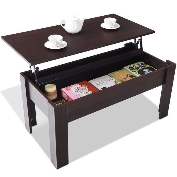 Coffee Table Hidden Chairs: Shop Costway Modern Lift Top Coffee Table Hidden