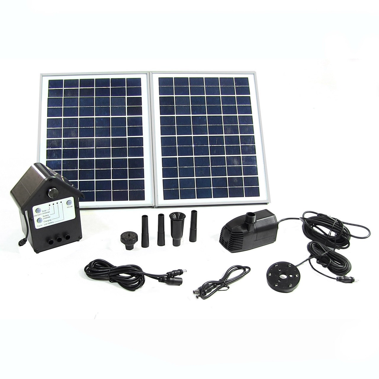 Sunnydaze Solar Pump and Solar Panel Kit With Battery Pack and LED Light with 11 - Black - Thumbnail 0