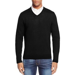 Bloomingdales Merino Wool V-Neck Sweater Deep Black Solid Large L