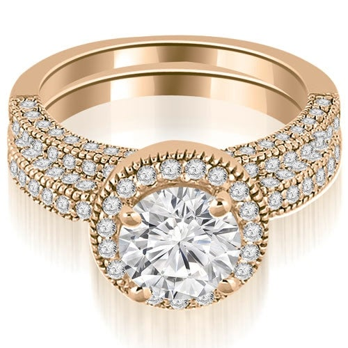 1.85 cttw. 14K Rose Gold Halo Round Cut Diamond Bridal Set