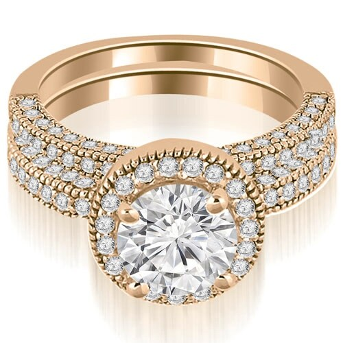 2.10 cttw. 14K Rose Gold Halo Round Cut Diamond Bridal Set