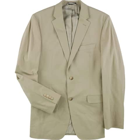 Ralph Lauren Mens Solid Two Button Blazer Jacket, Beige, 40 Long