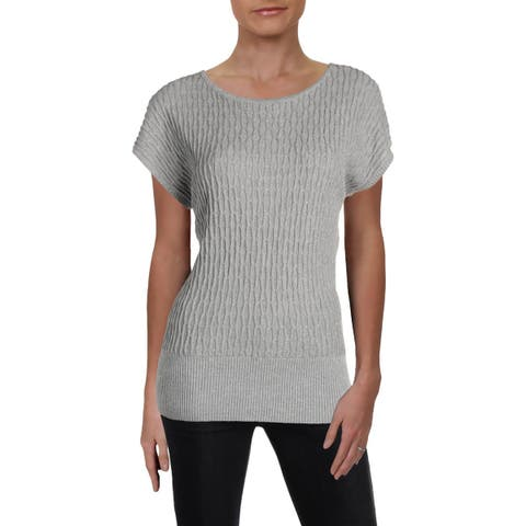 Joseph A. Womens Pullover Sweater Metallic Ribbed - L