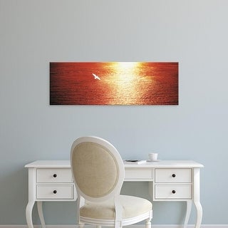 Easy Art Prints Panoramic Images's 'Seagull flying over the ocean at sunset' Premium Canvas Art
