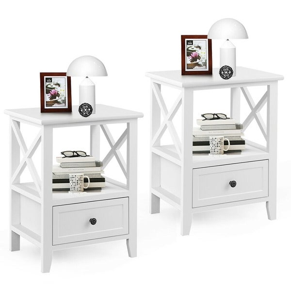 Gymax 2PCS White Nightstand End Side Table Shelf Storage Drawer Room Furniture