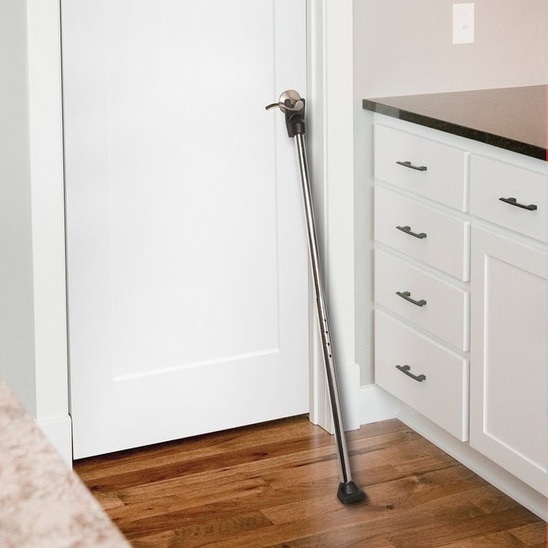 Deluxe Door Guard Security Bar Door Stop - Silver