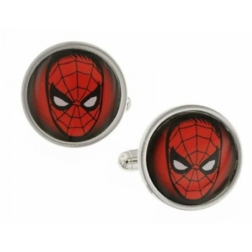 Spider-Man Silver-Tone Red Marvel Superhero Cufflinks