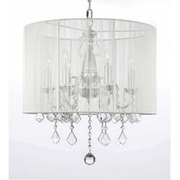 Shop swag plug in chandelier with crystals and large white shade 6 crystal swag plug in chandelier lighting with shade with 14 feet of hanging chain aloadofball Gallery